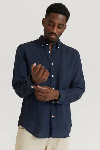 Morris Skjorta Douglas BD Linen Shirt LS Blå