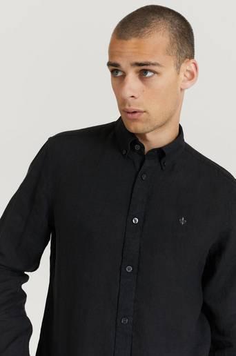 Morris Skjorta Douglas BD Linen Shirt LS Svart