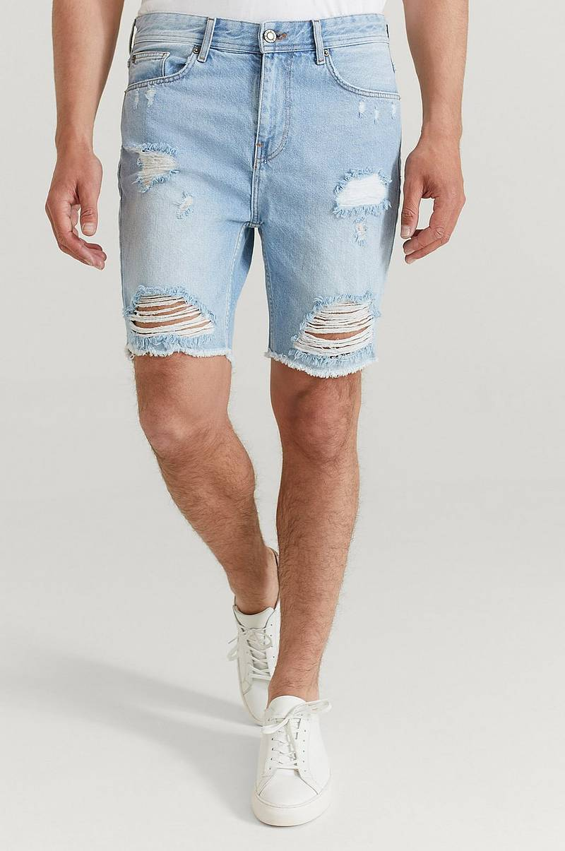 Farkkushortsit Ripped Denim Shorts