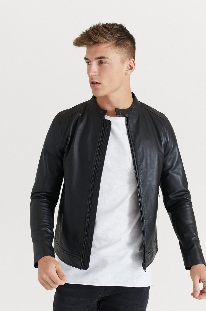 Skinnjakke Racer Leather Jacket