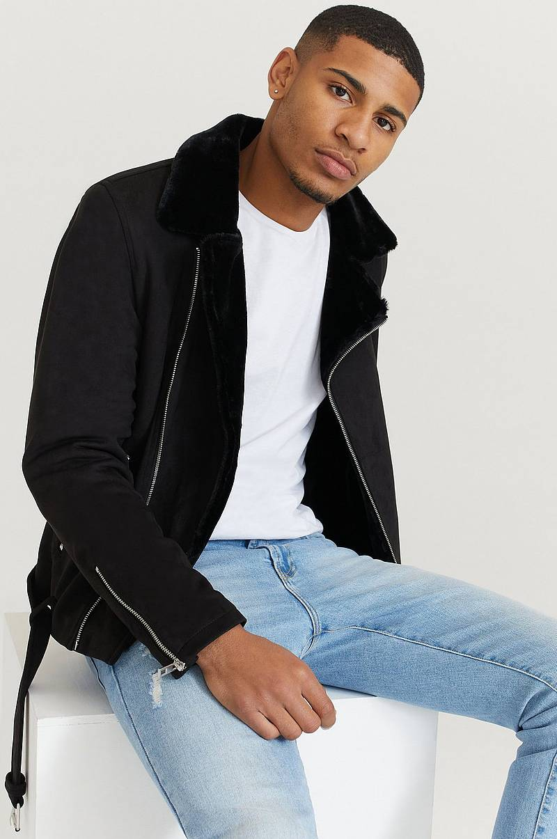 Jacka Fake Suede Biker Jacket Fur
