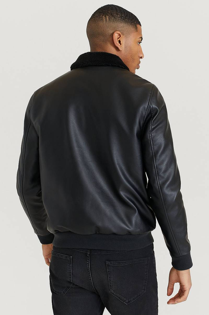 Jakke Fake Leather Bomber Jacket