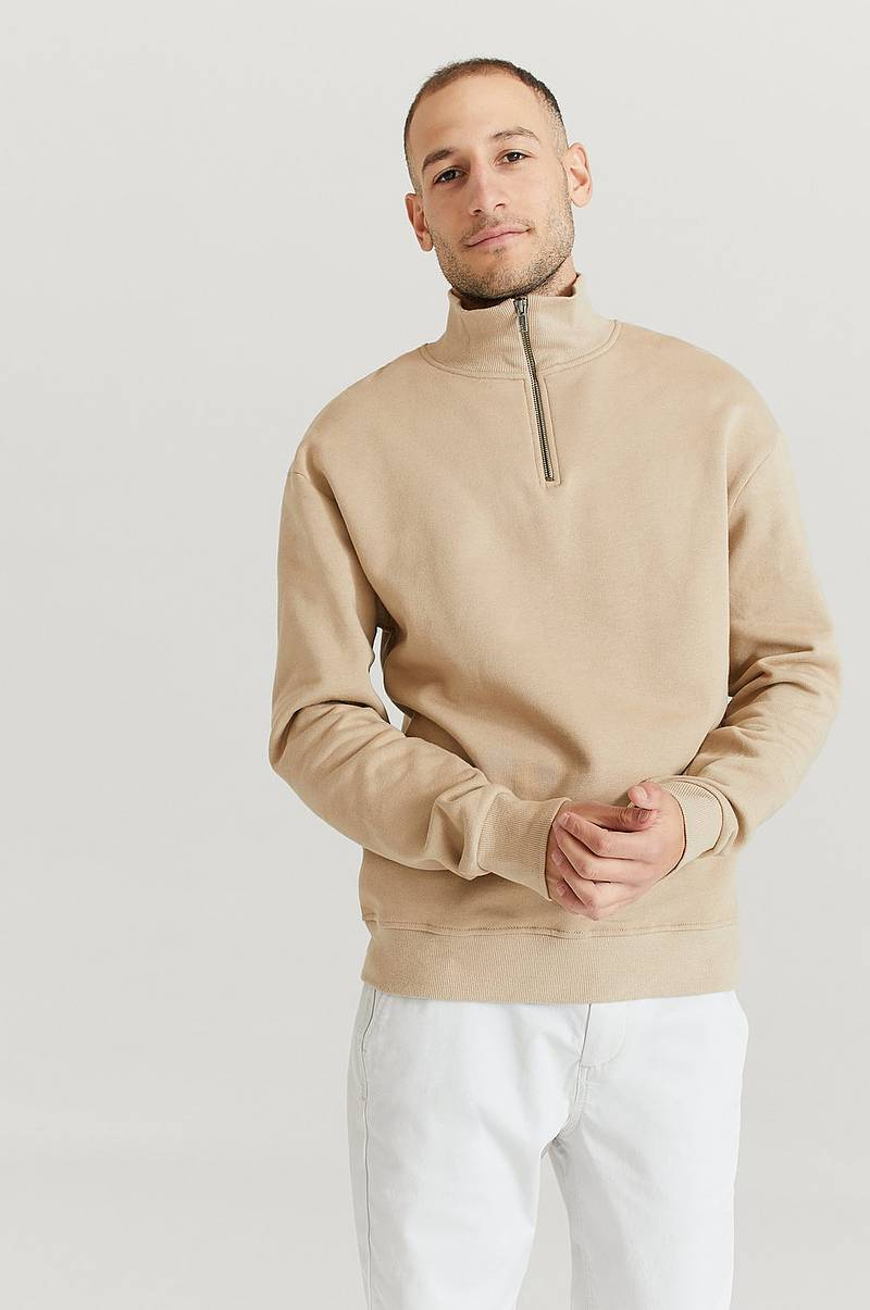 Sweatshirt 1/2 Zip Rib Collar Sweater