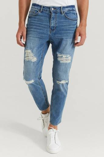 William Baxter Jeans Tapered Cropped Jeans Blå