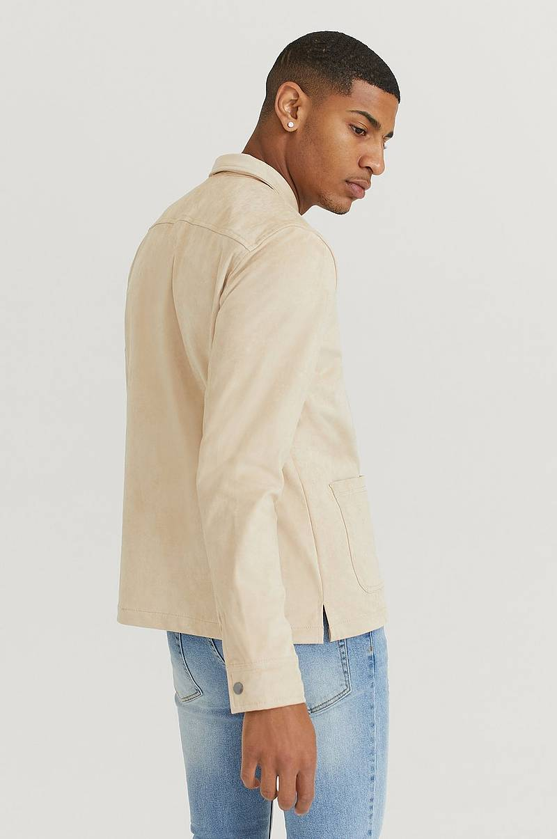 Overshirt Fake Suede Zip Overshirt