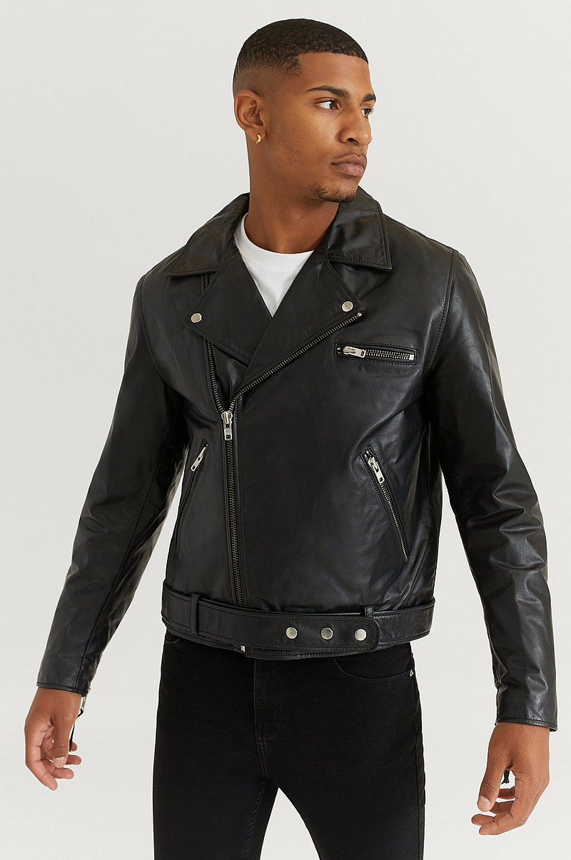 William Baxter Skinnjakke Biker Leather Jacket Svart