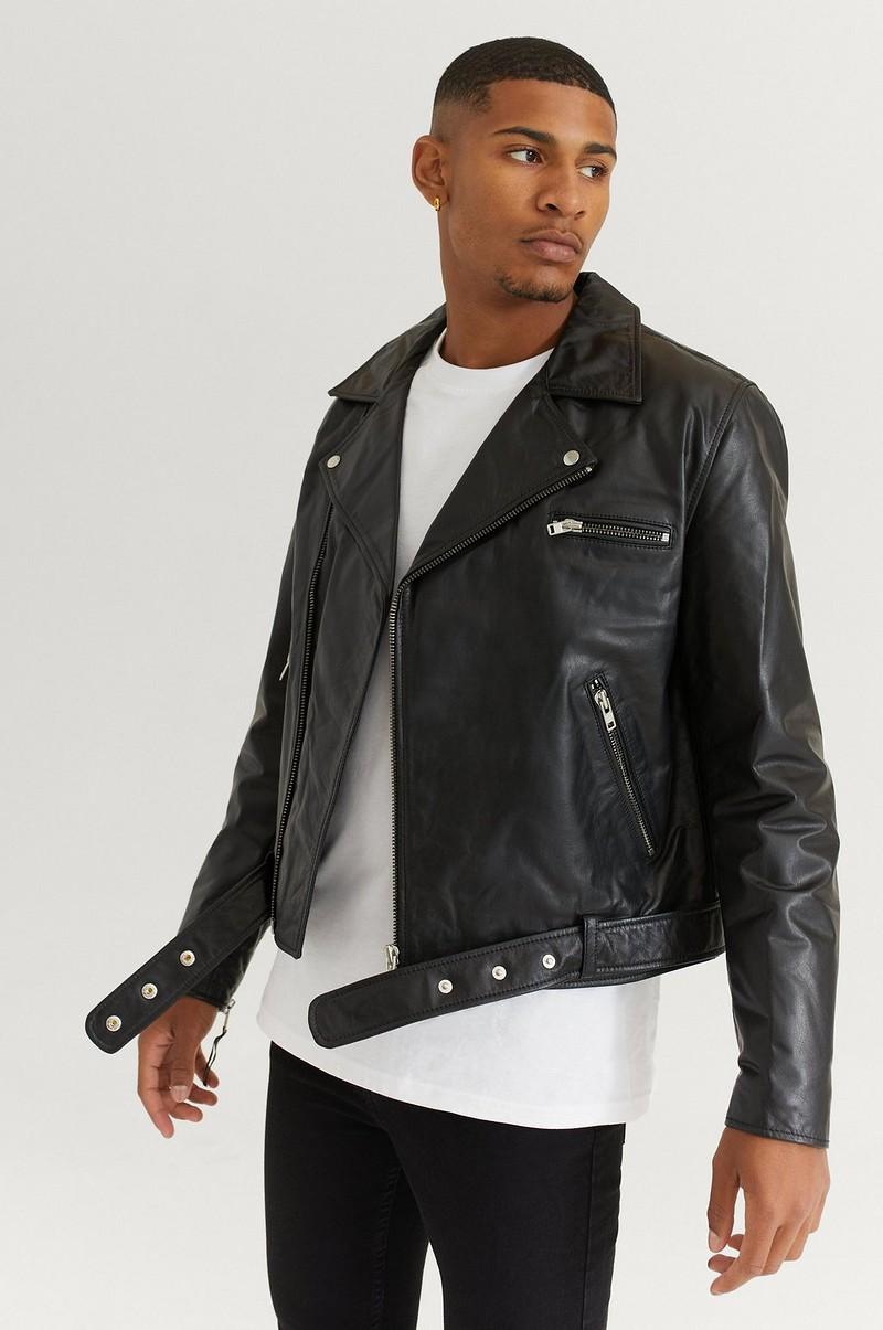 William Baxter Skinnjakke Biker Leather Jacket Svart
