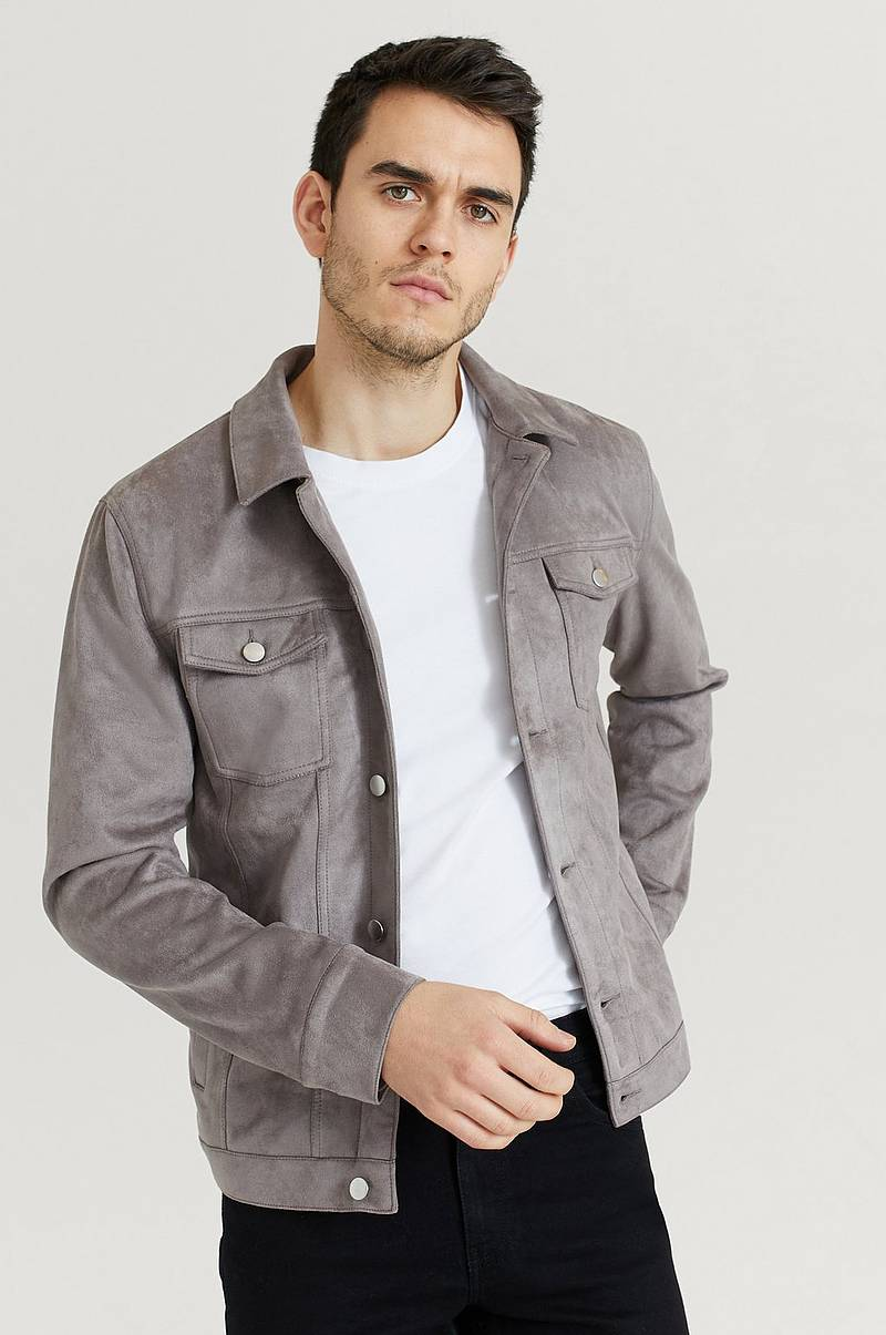 Jakke Fake Suede Trucker Jacket