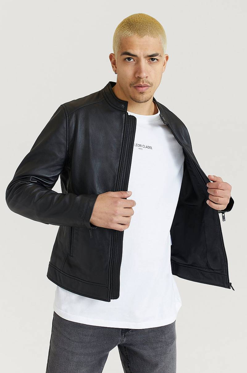 Nahkatakki Clean Leather Racer Jacket