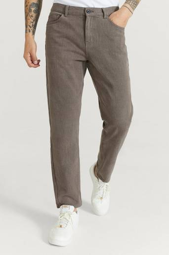Studio Total Byxor Regular Tapered Twill Brun