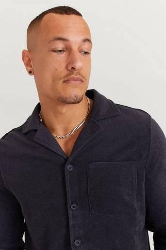 Studio Total Skjorta Terry Camp Collar LS Shirt Blå
