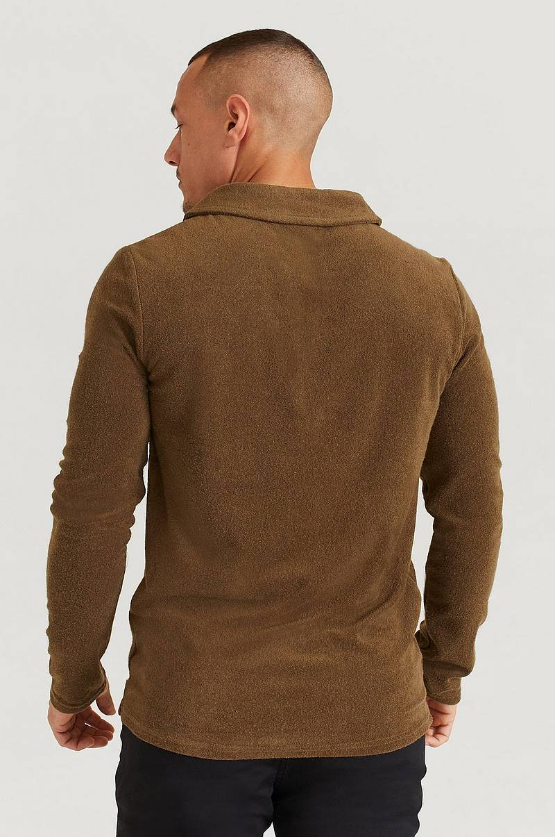 Pusero Terry Camp Collar Long Sleeve